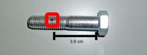 Elmo 700m-fähig (Position des Loches in der Schraube für den Splint zur Spulenfixierung)