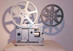 Projektor Bauer P7 universal TS (Seitenansicht rechts mit Spulen)