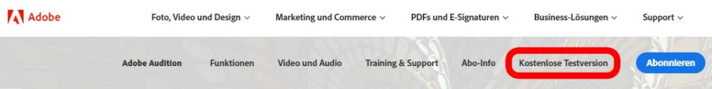Adobe Audition Button für Testversion