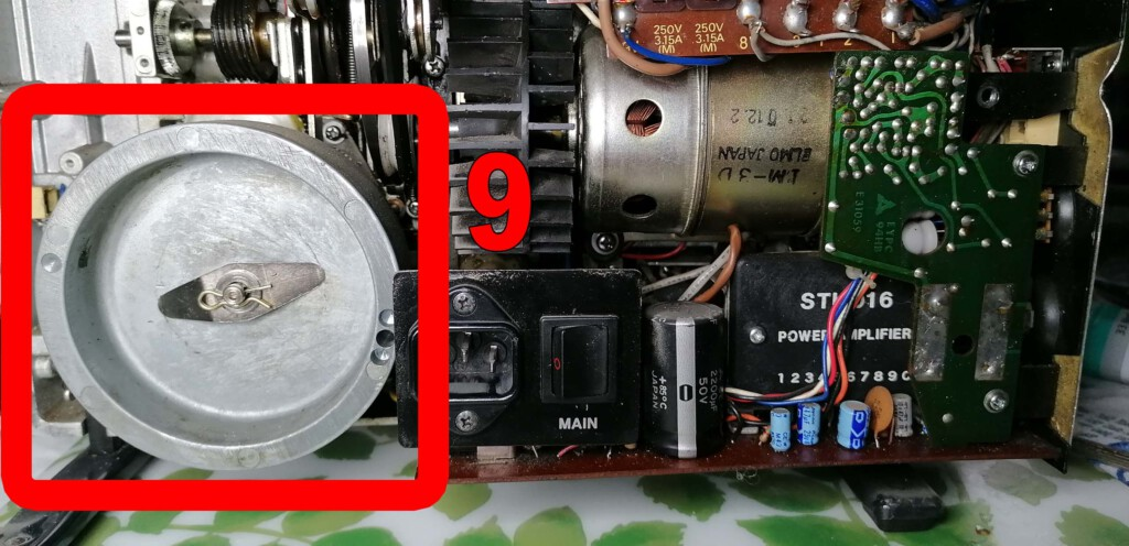 Blick auf die Schwungmasse im Innern des Elmo ST-1200 HD