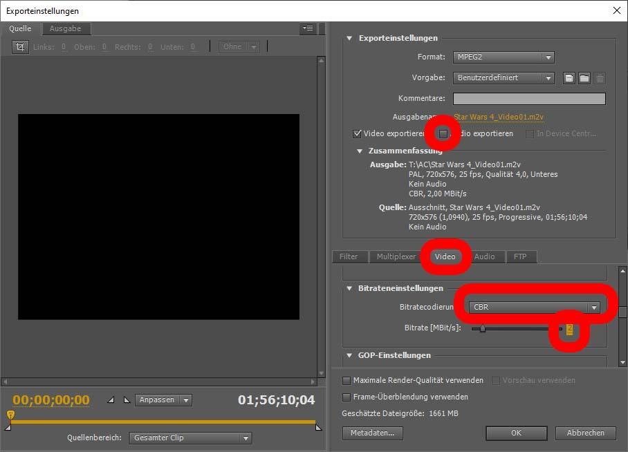 Änderung der Videowerte