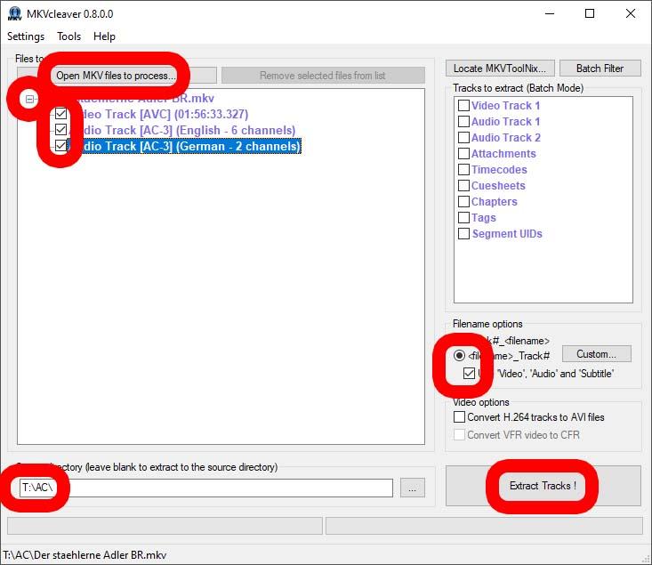 MKVcleaver - Beispiel zur Vorbereitung der BluRay-Dateien