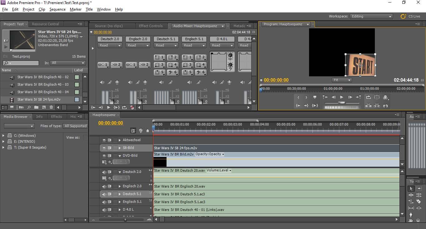 Abschluss Vorbereitung des Videoschnitts