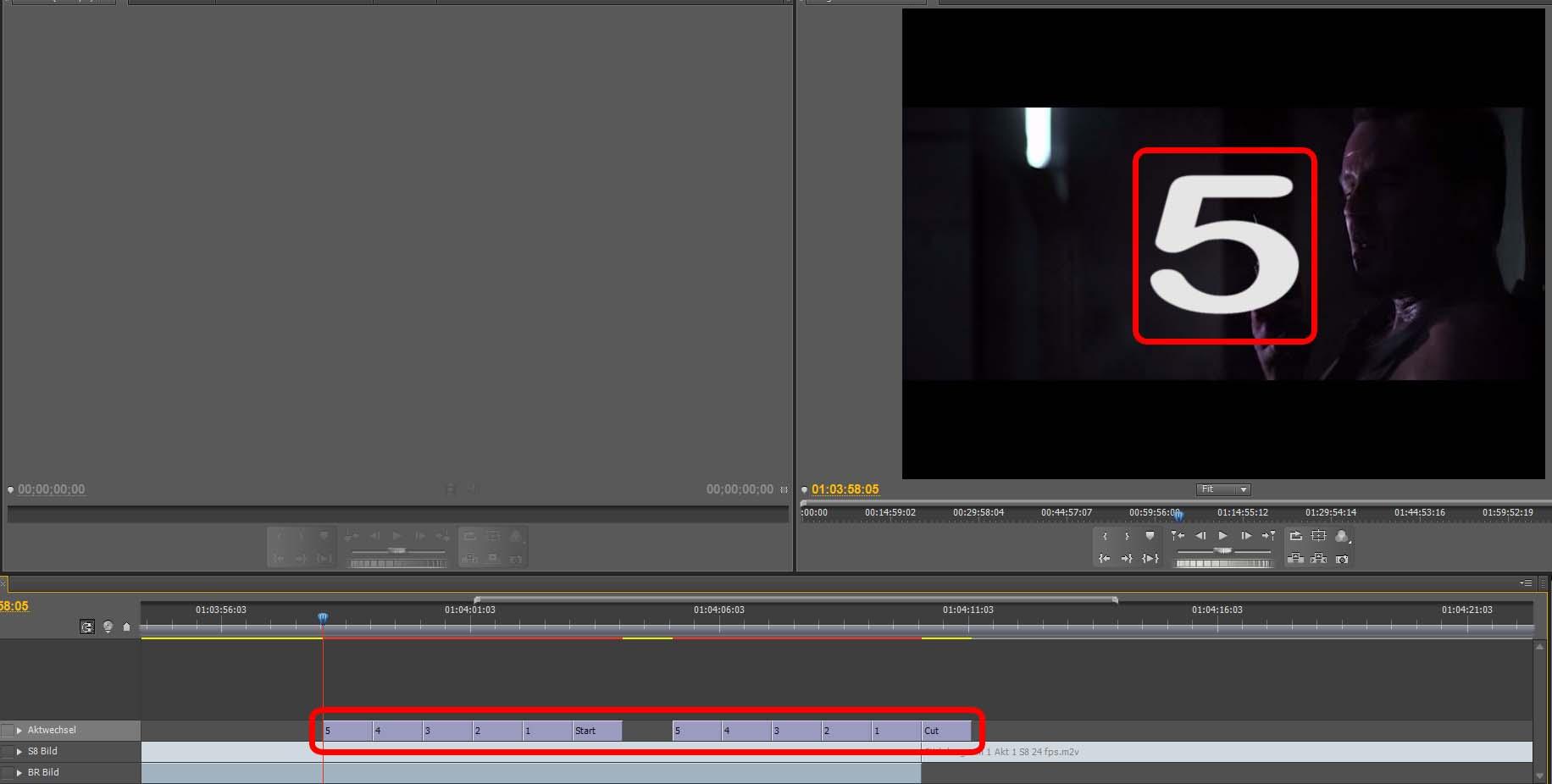 Videoschnitt mit Titel für Aktwechsel