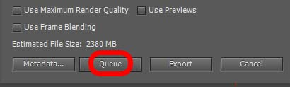 """Button """"Queue"""""""
