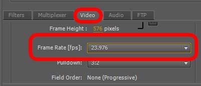 """Framerate im Register """"Video"""" gegebenenfalls anpassen"""