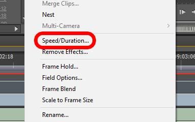 """Kontextmenü mit dem Eintrag """"Speed"""""""