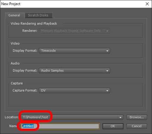 Neues Projekt anlegen zur Verbereitung des Videoschnitts in Adobe Premiere