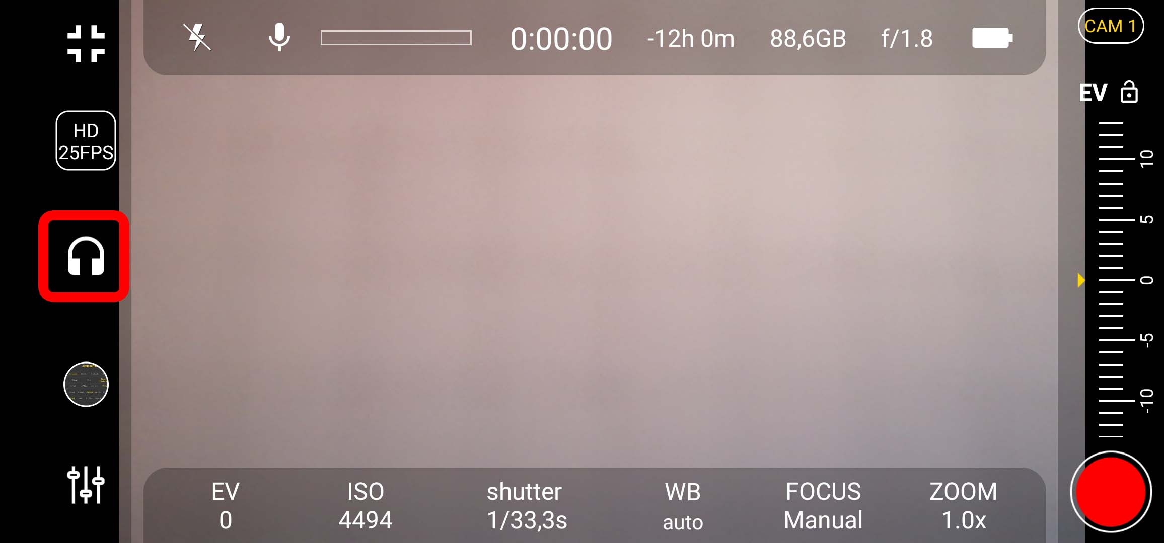 4k Camera Pro - Button für Audio-Settings