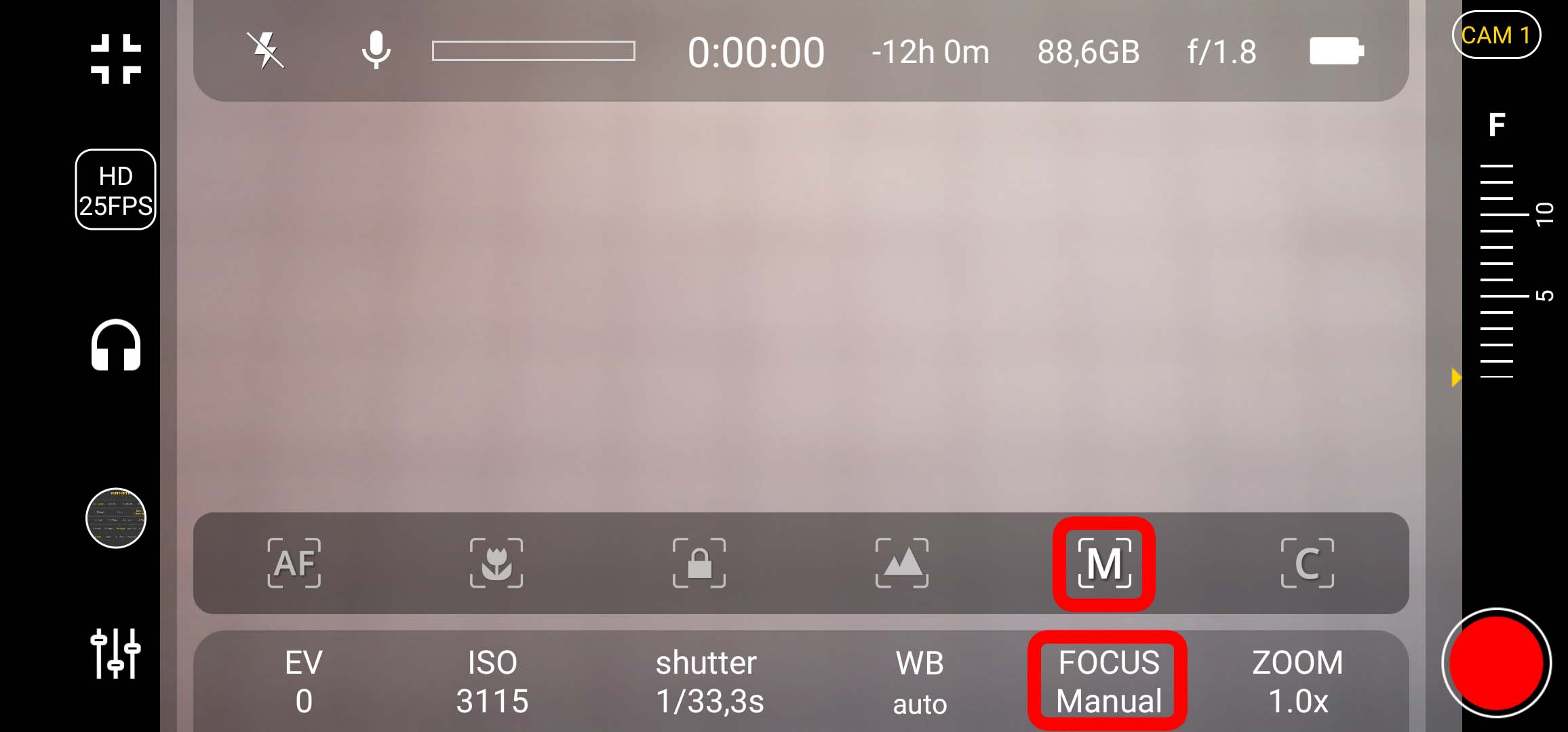 4k Camera Pro - Focus auf manuellen Modus einstellen