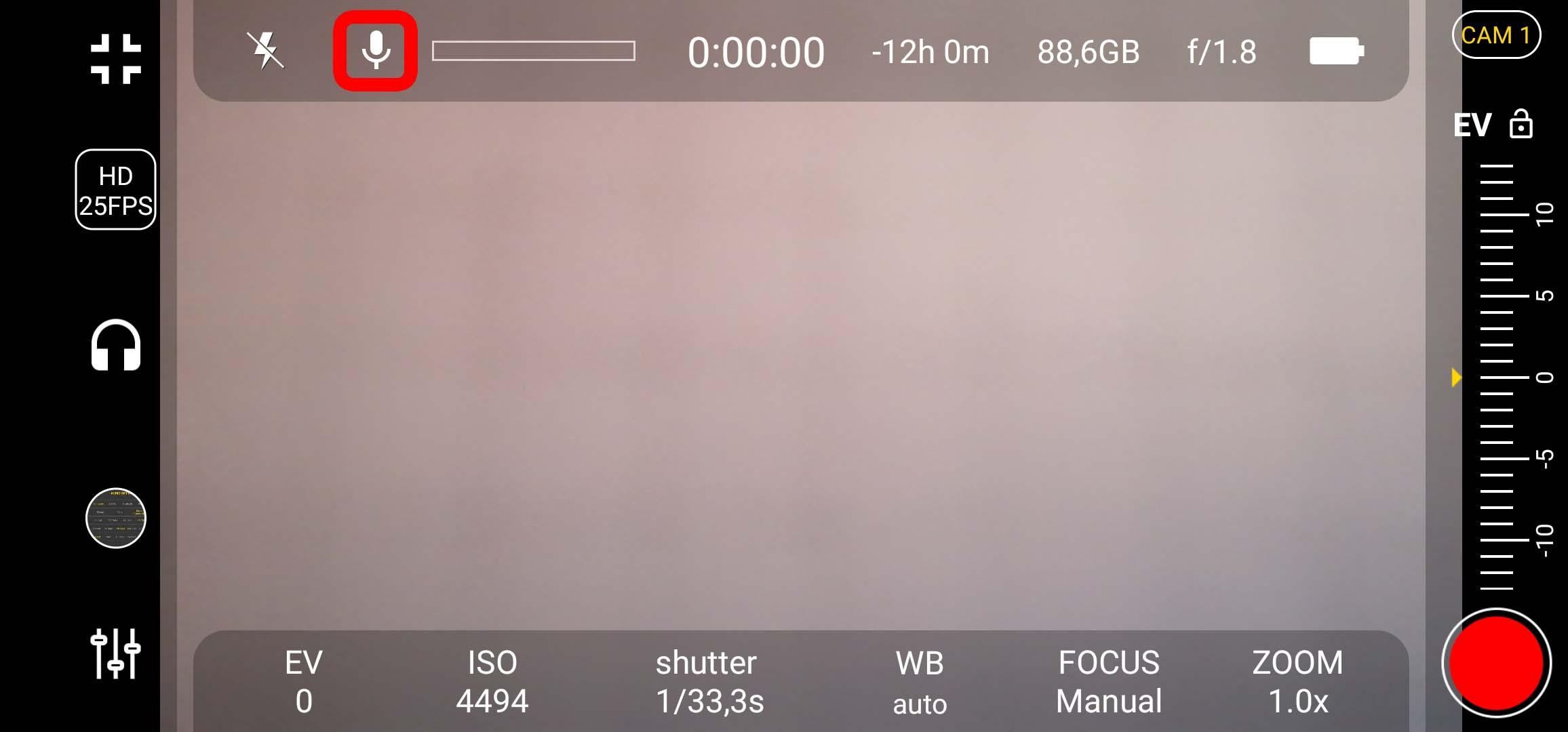 4k Camera Pro - Button für Mikrofon