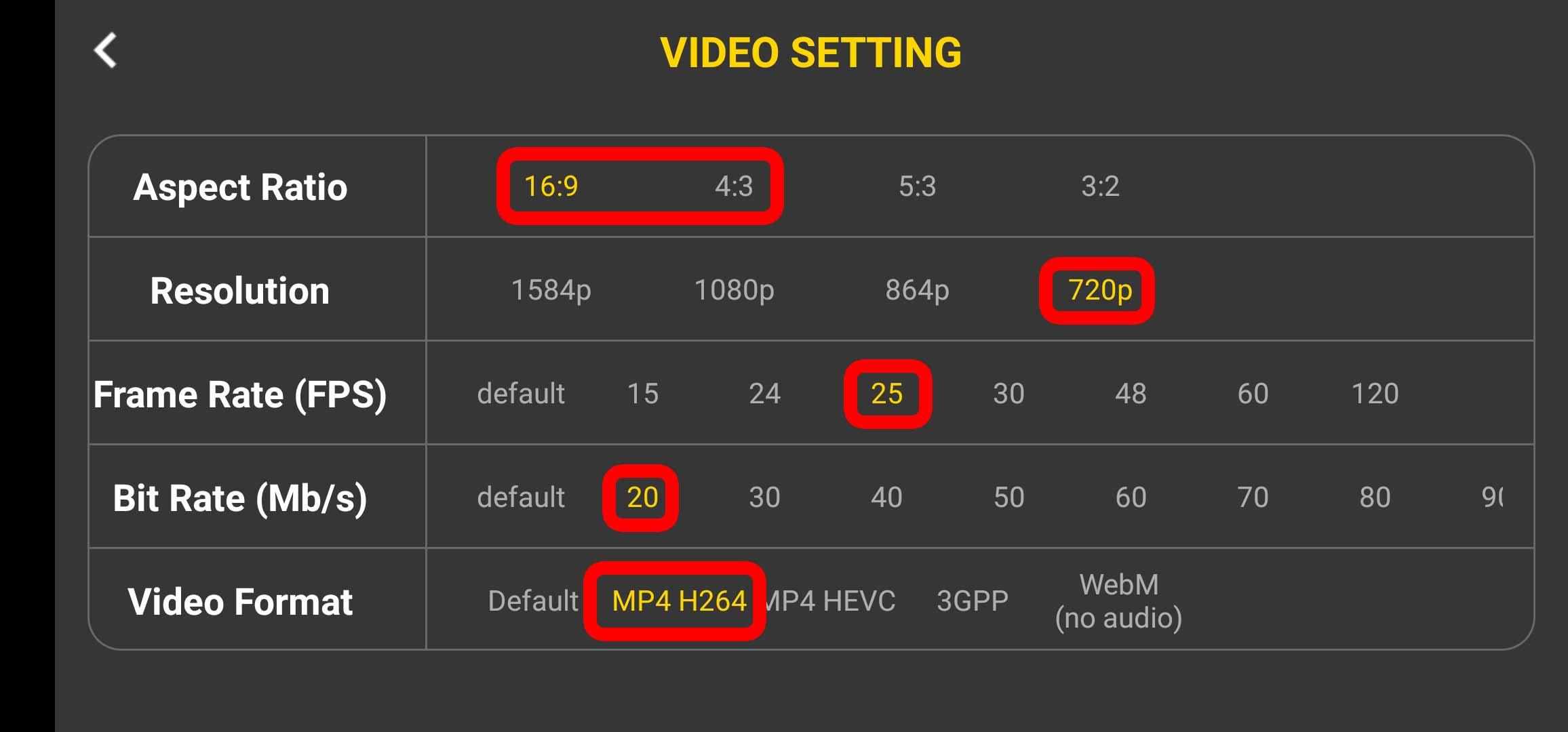 4k Camera Pro - Einstellungen bei Video-Settings