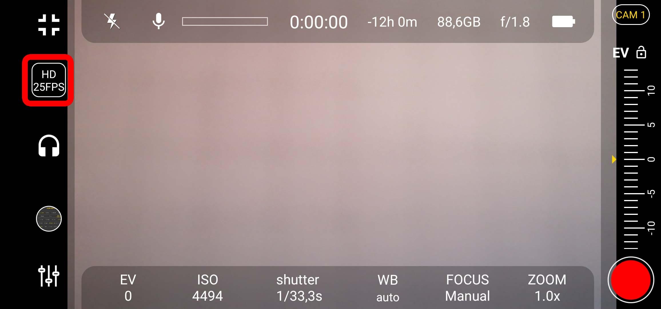 4k Camera Pro - Button für Video-Settings