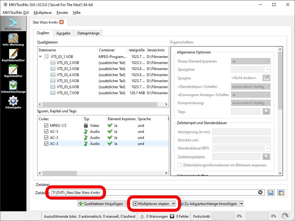 mkvtoolnix - Beispiel zur Vorbereitung der DVD-Dateien