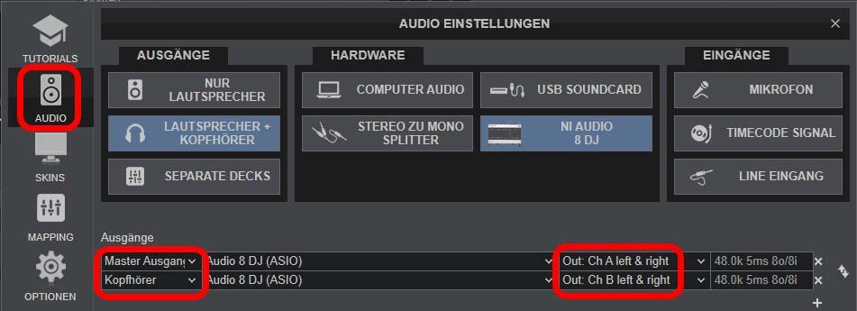 VirtualDJ-Einstellungen für Stereo bzw. Dolby 2.0