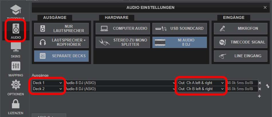VirtualDJ-Einstellungen für Dolby 4.0