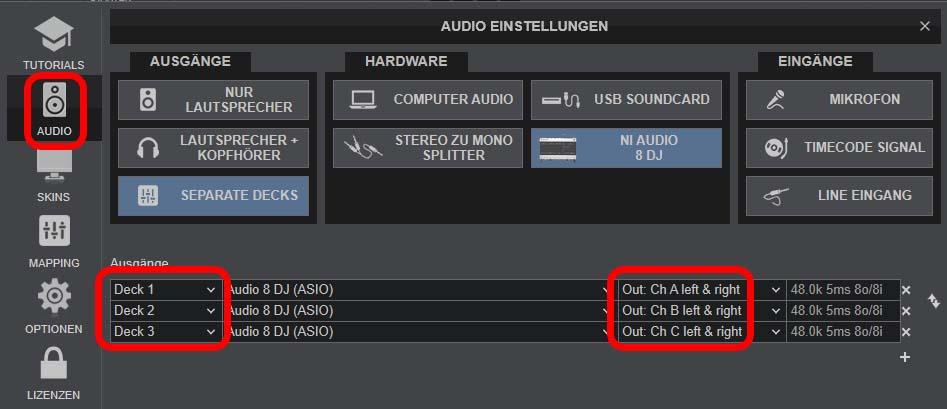 VirtualDJ-Einstellungen für Dolby 5.1