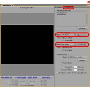 Einstellungen für das Abfilmen in Adobe Premiere