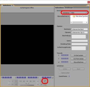 Hauptfenster für die Aufnahme in Adobe Premiere zum Abfilmen