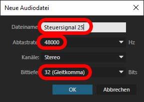 Einstellungen für neue Audiodatei